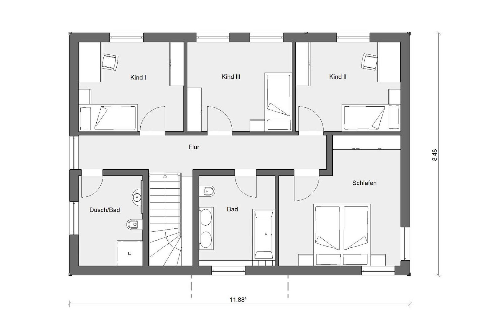 Floor plan attic E 20-165.4 prefab house modern
