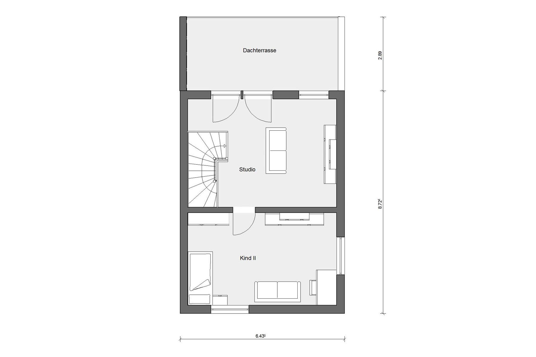 Floor plan attic D 25-166.2 Semi-detached house with roof terrace