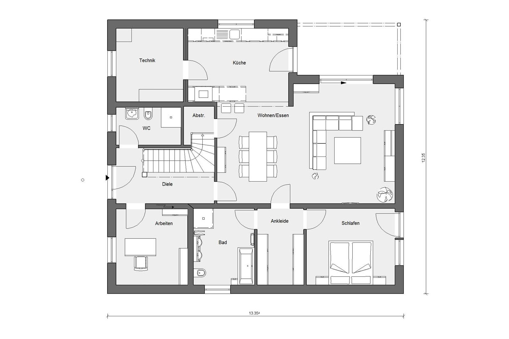 Floor plan ground floor E 15-264.1 Bungalow with pitched roof