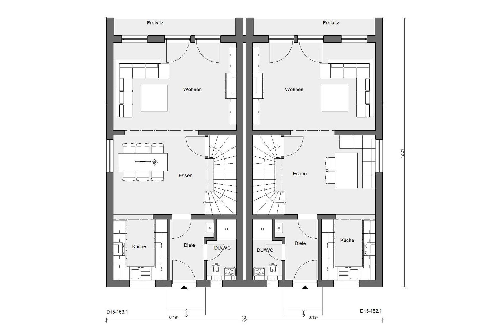 Floor plan ground floor D 15-153.1 / D 15-152.1 Modern semi-detached house