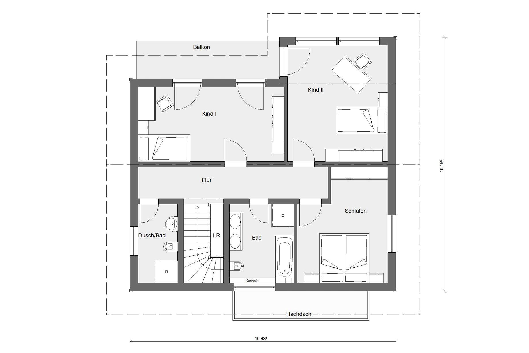 Attic floor plan Prefabricated house with wooden facade E 20-159.1