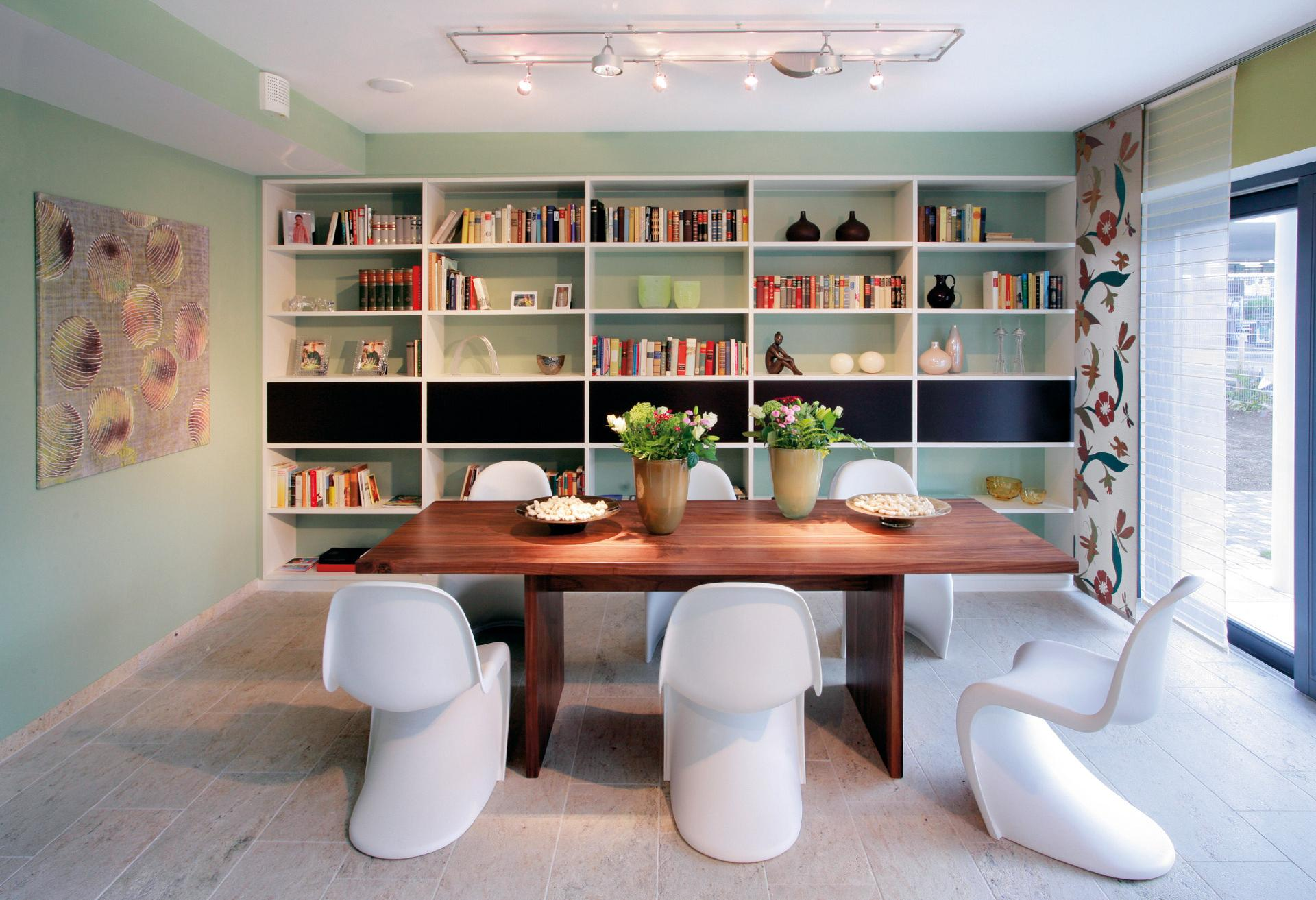 Modern dining room with large wooden table