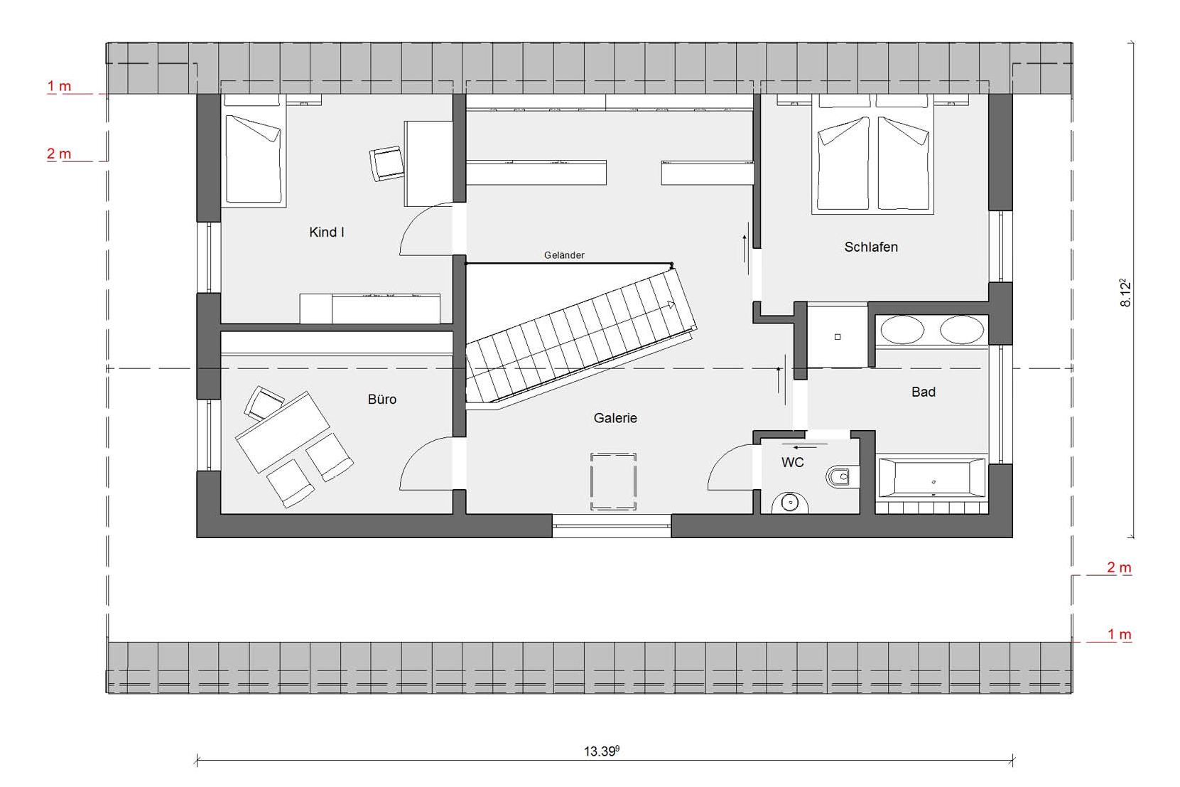 Floor plan attic E 15-170.1 prefabricated house with energy plus