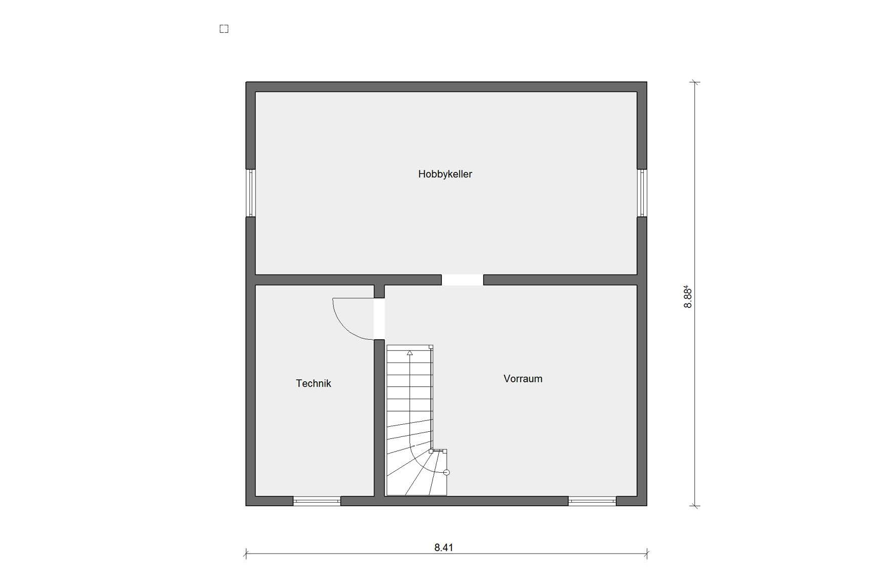 Basement floor plan E 15-128.3 Houses with offset pent roof