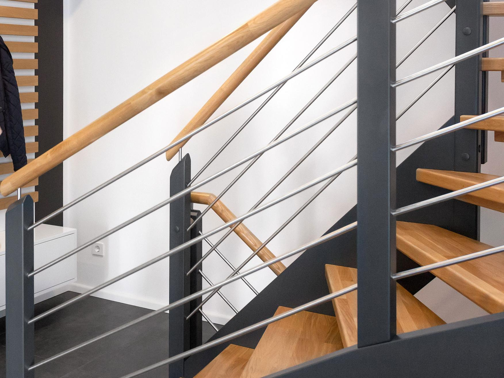 Banister stainless steel wood combination