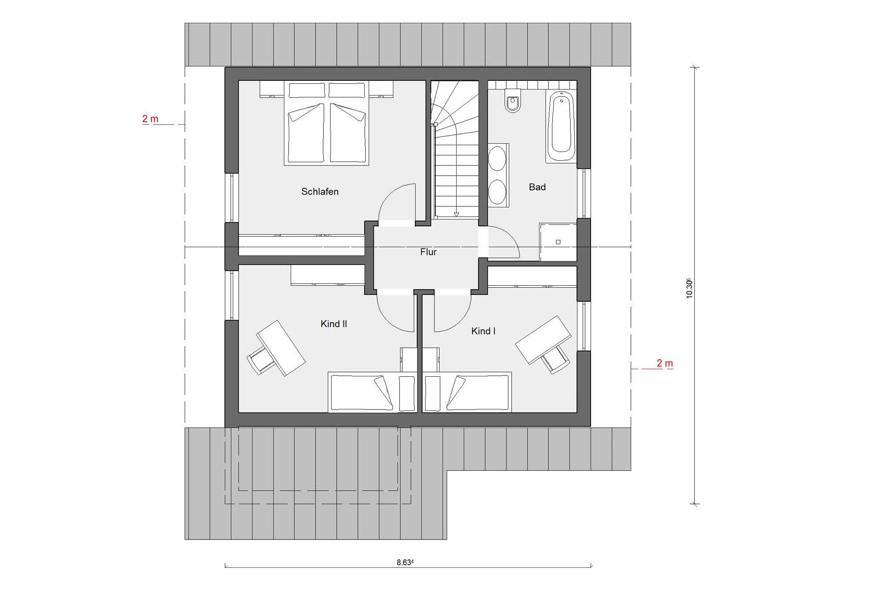 Attic floor plan E 15-125.3 House with large glass surfaces