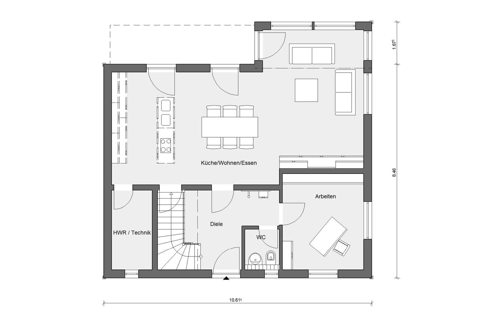 Ground floor floor plan prefabricated house with wooden facade E 20-159.1
