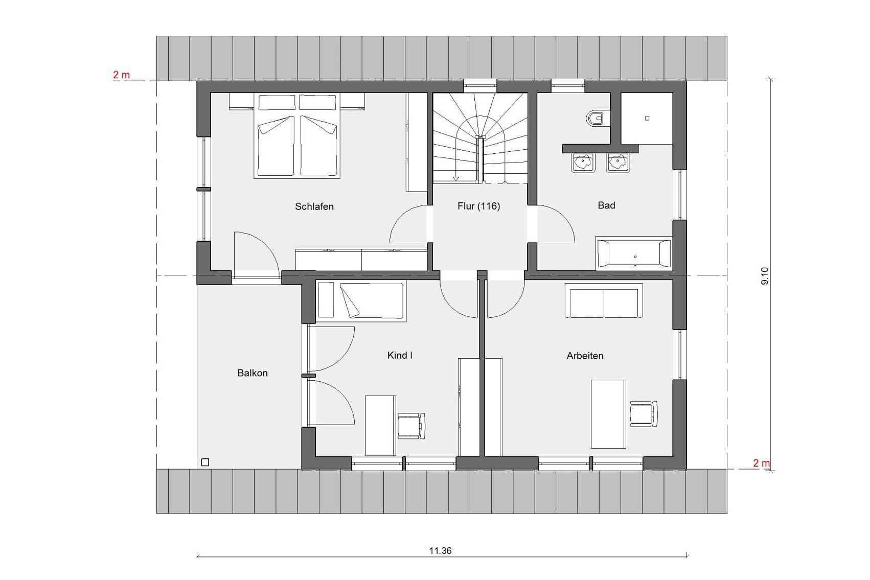 Floor plan attic E 15-153.2 Detached house with double garage