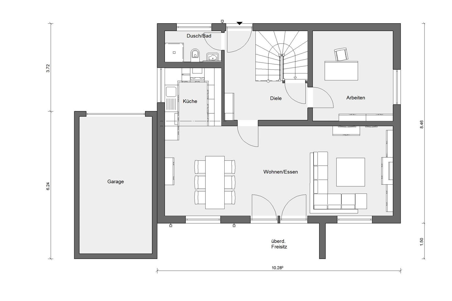 Ground floor plan E 20-144.2 Modern Bauhaus style