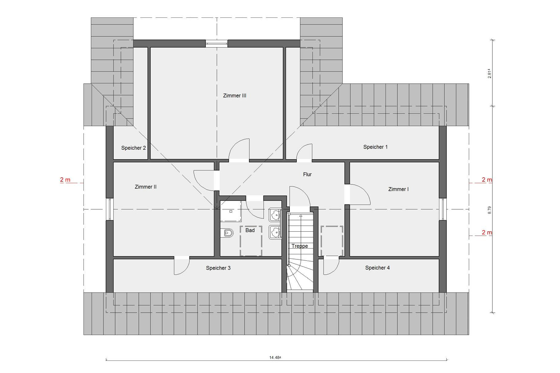 Floor plan attic E 15-244.1 Country house modern