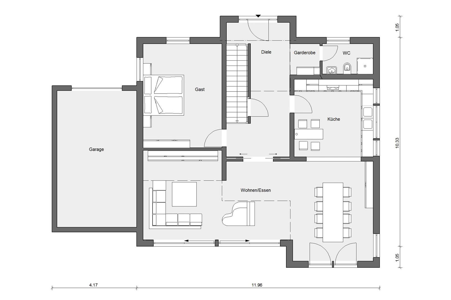Ground floor plan E 15-197.2 Prefabricated house with clinker facade