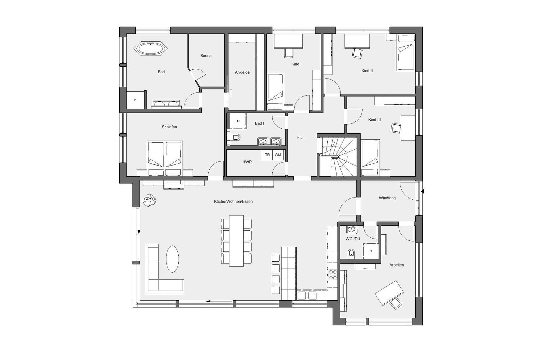 Ground floor plan E 10-230.1 Bungalow with roof terrace