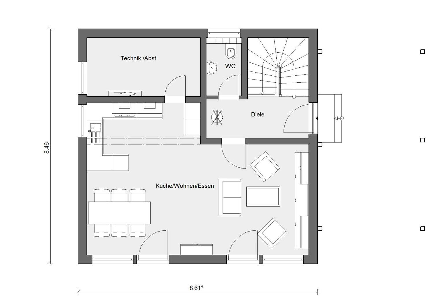 Ground floor plan E 20-118.3 Prefabricated house for 2 persons