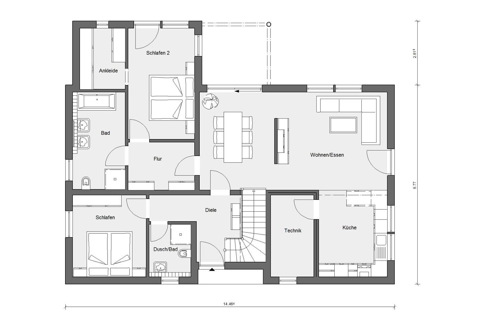 Floor plan ground floor E 15-244.1 Country house modern