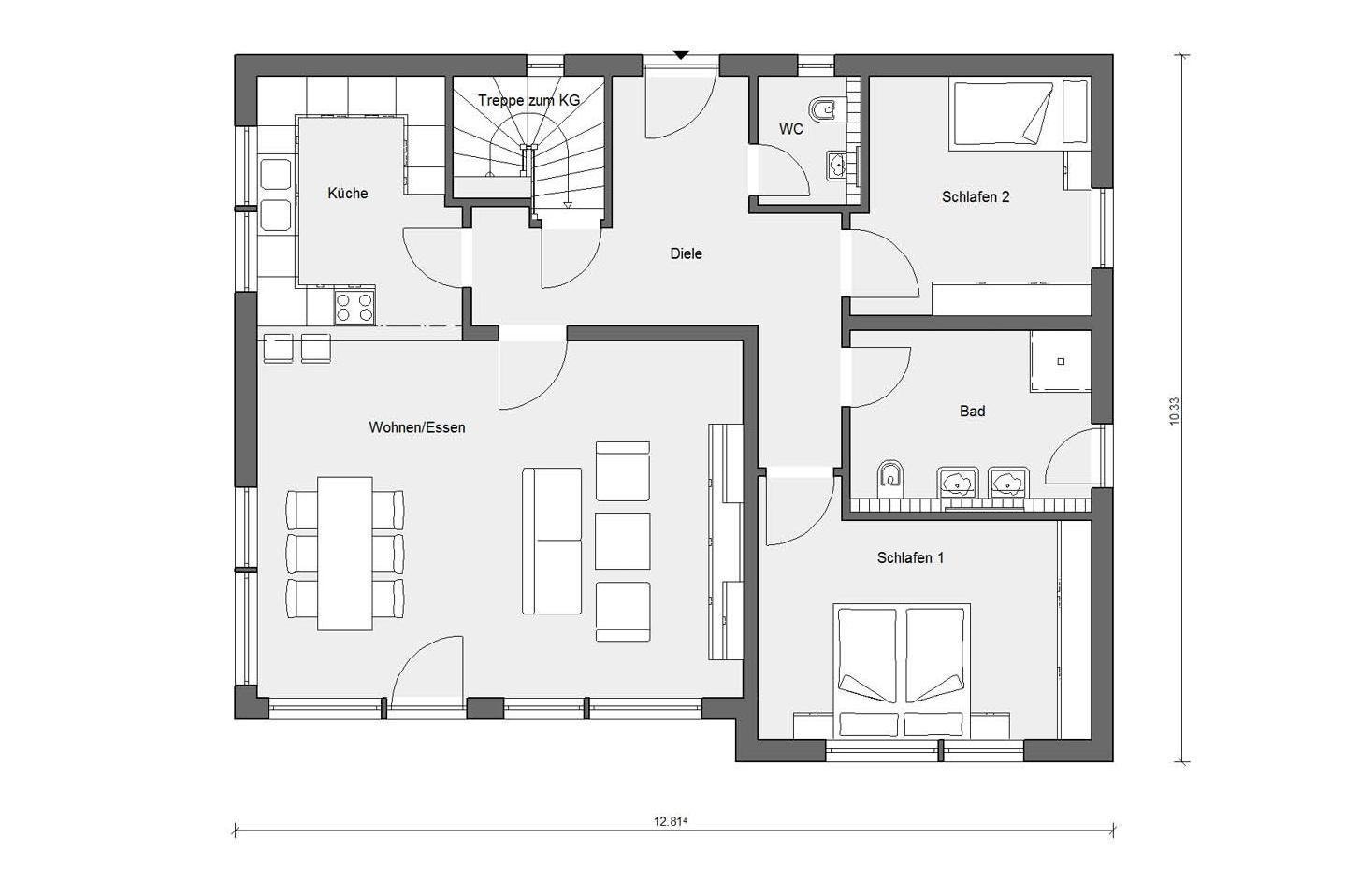 Floor plan ground floor E 10-103.1 Bungalow with pitched roof