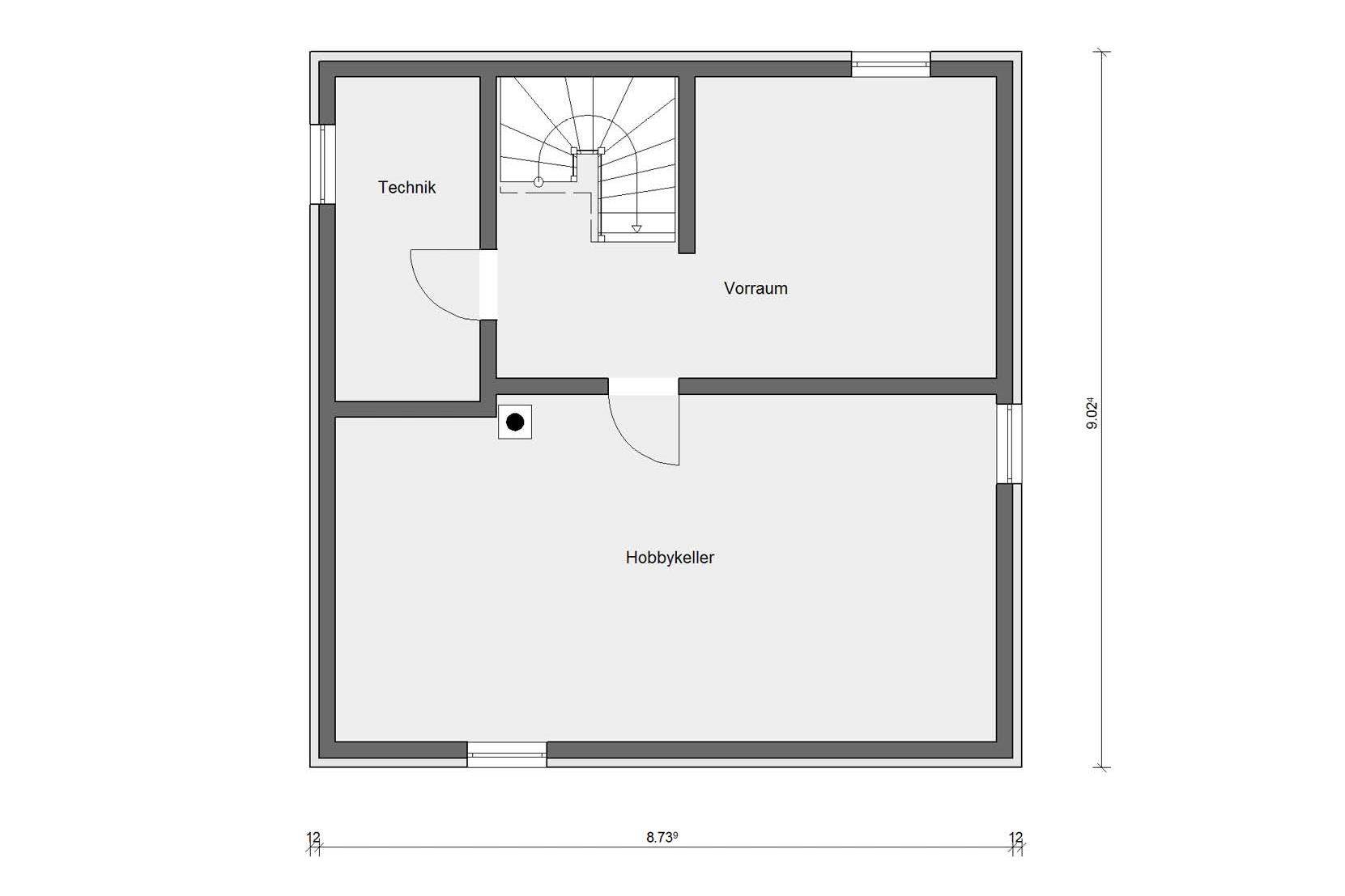 Floor plan basement prefabricated house with tent roof E 20-135.1
