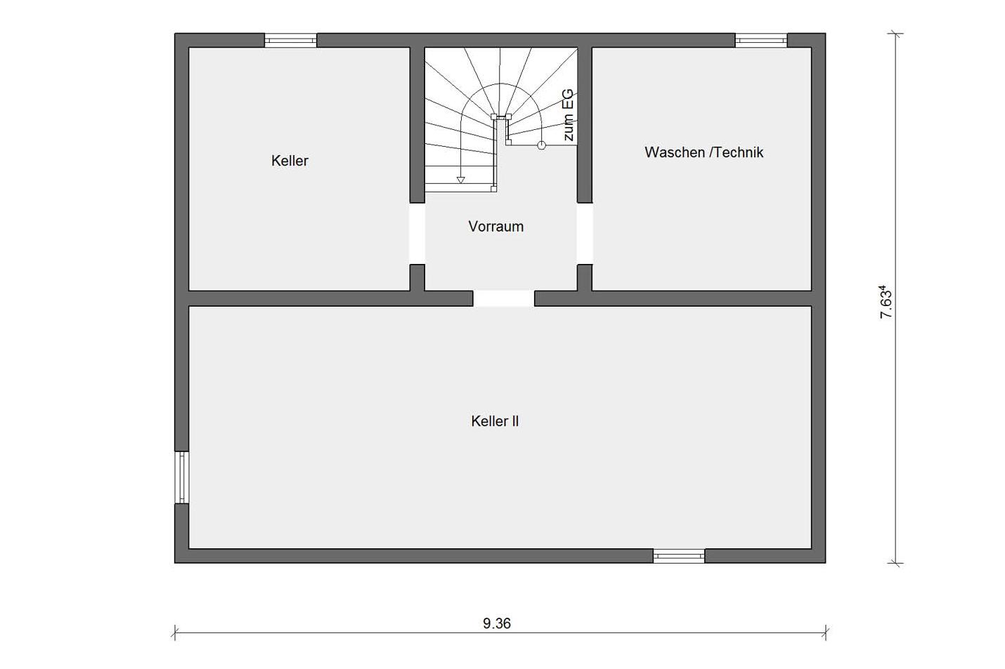 Basement floorplan E 15-123.4 compact family house