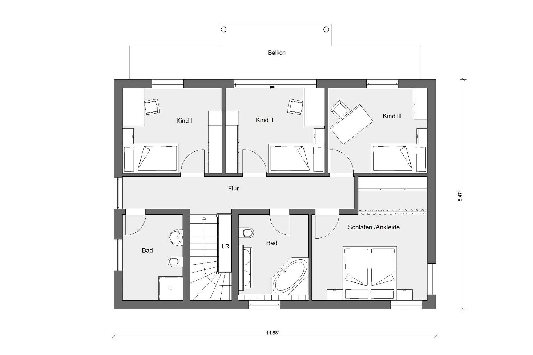 Attic floor plan prefabricated house with 3 children's rooms E 20-165.6