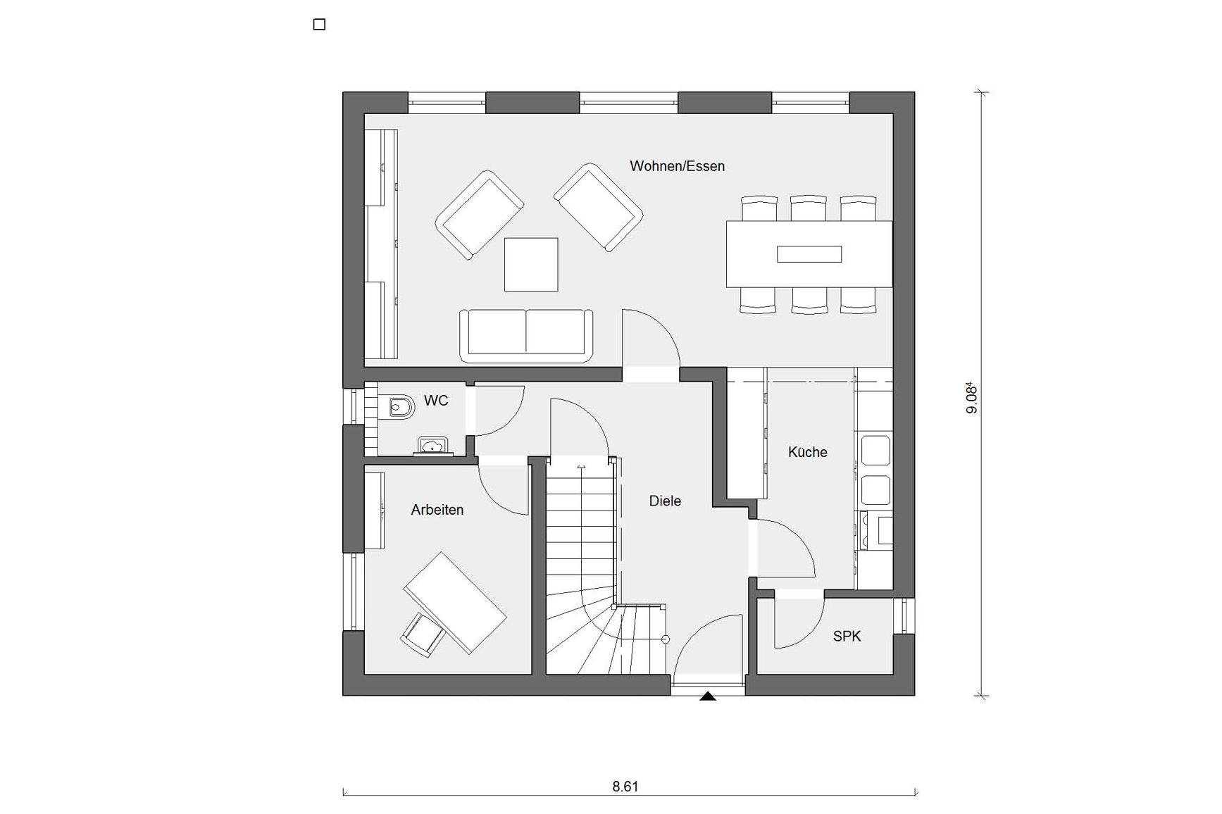 Ground floor layout E 15-128.3 Houses with offset pent roof